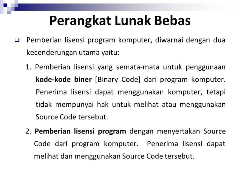 Perangkat Lunak Bebas Pemberian lisensi program komputer, diwarnai dengan dua kecenderungan utama yaitu: