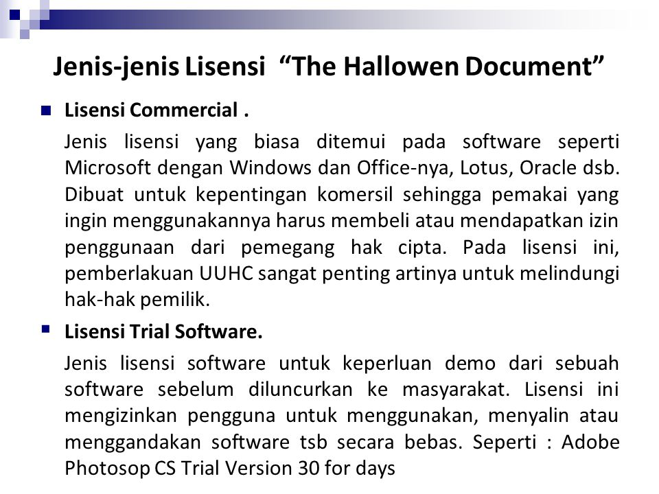 Jenis-jenis Lisensi The Hallowen Document