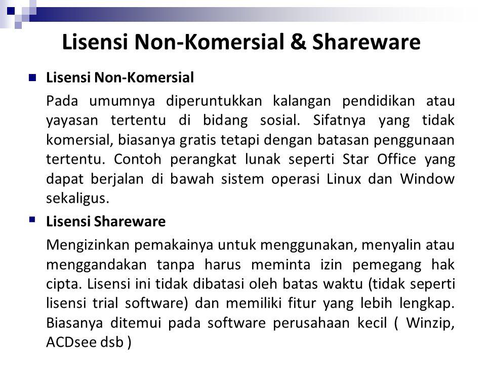 Lisensi Non-Komersial & Shareware