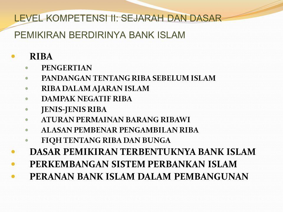 LEVEL KOMPETENSI II: SEJARAH DAN DASAR PEMIKIRAN BERDIRINYA BANK ISLAM