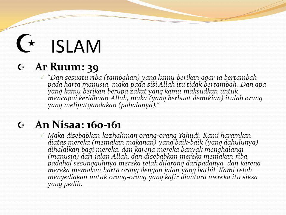 ISLAM Ar Ruum: 39 An Nisaa: 160-161