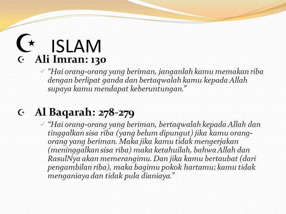 ISLAM Ali Imran: 130 Al Baqarah: 278-279
