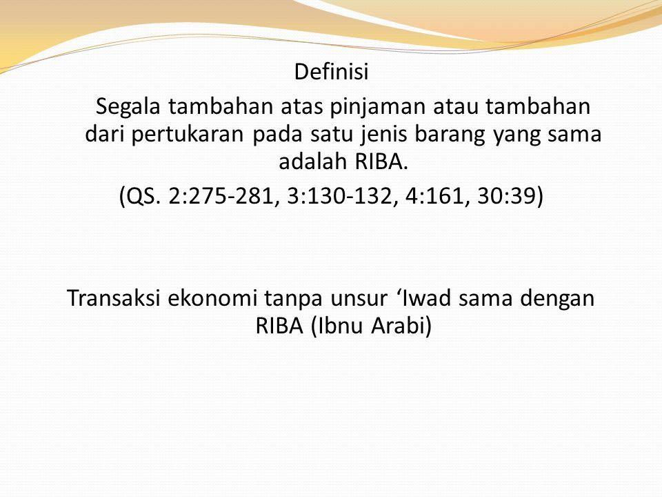 Transaksi ekonomi tanpa unsur 'Iwad sama dengan RIBA (Ibnu Arabi)