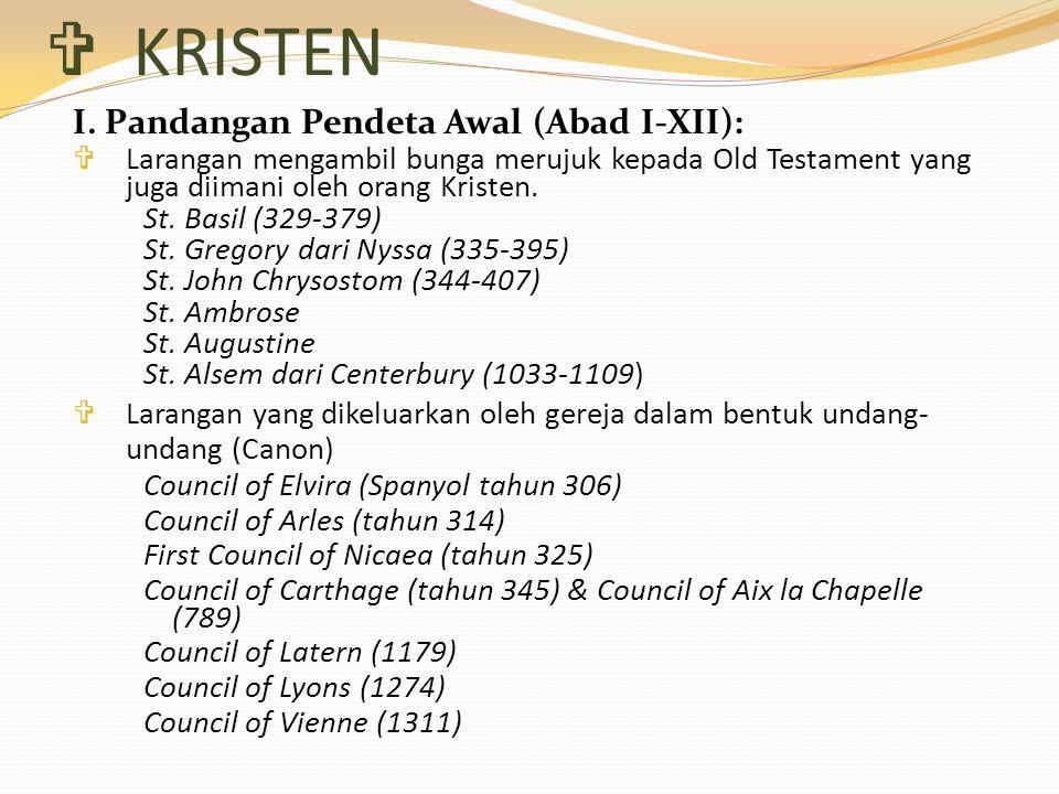 KRISTEN I. Pandangan Pendeta Awal (Abad I-XII):