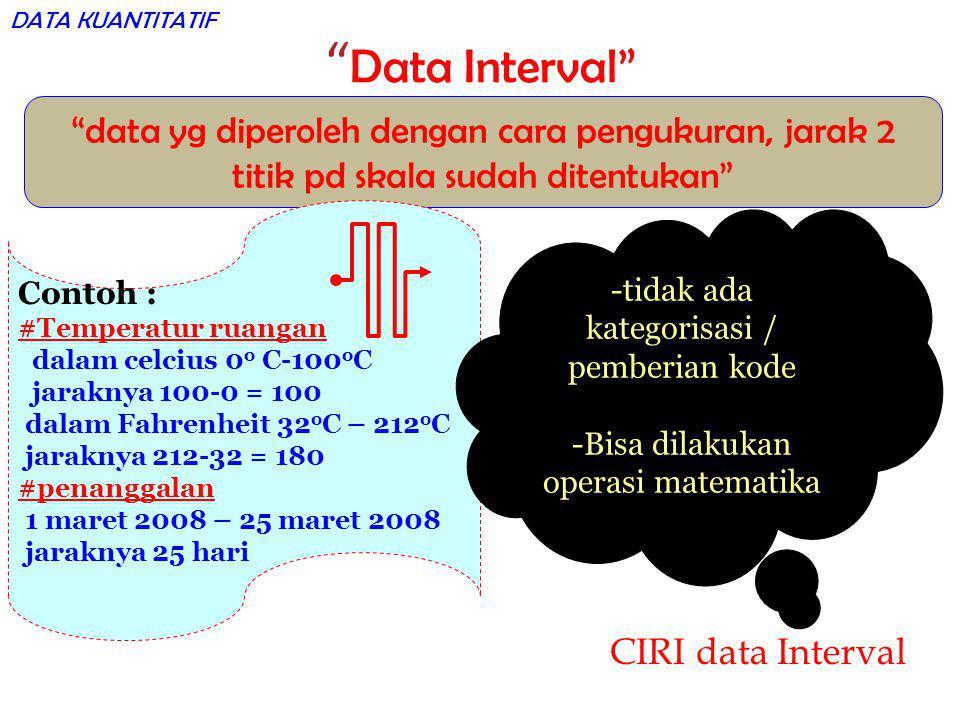 DATA KUANTITATIF Data Interval data yg diperoleh dengan cara pengukuran, jarak 2 titik pd skala sudah ditentukan