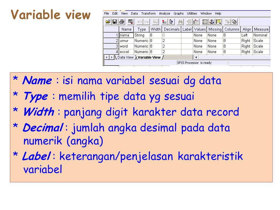Variable view * Name : isi nama variabel sesuai dg data