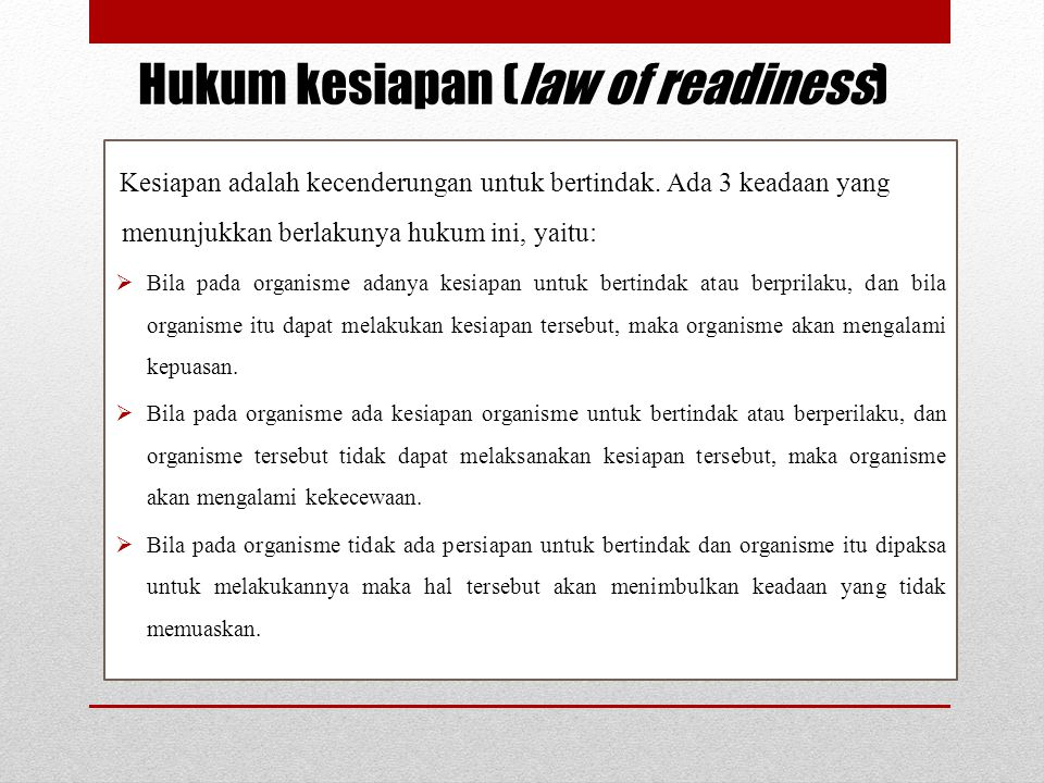 Hukum kesiapan (law of readiness)
