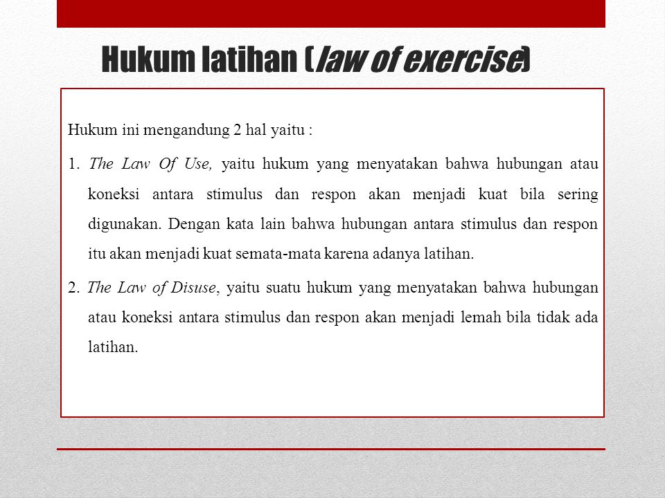 Hukum latihan (law of exercise)