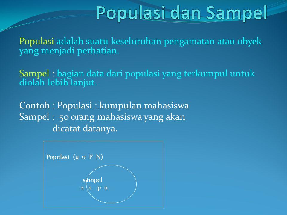 Populasi dan Sampel Populasi adalah suatu keseluruhan pengamatan atau obyek yang menjadi perhatian.