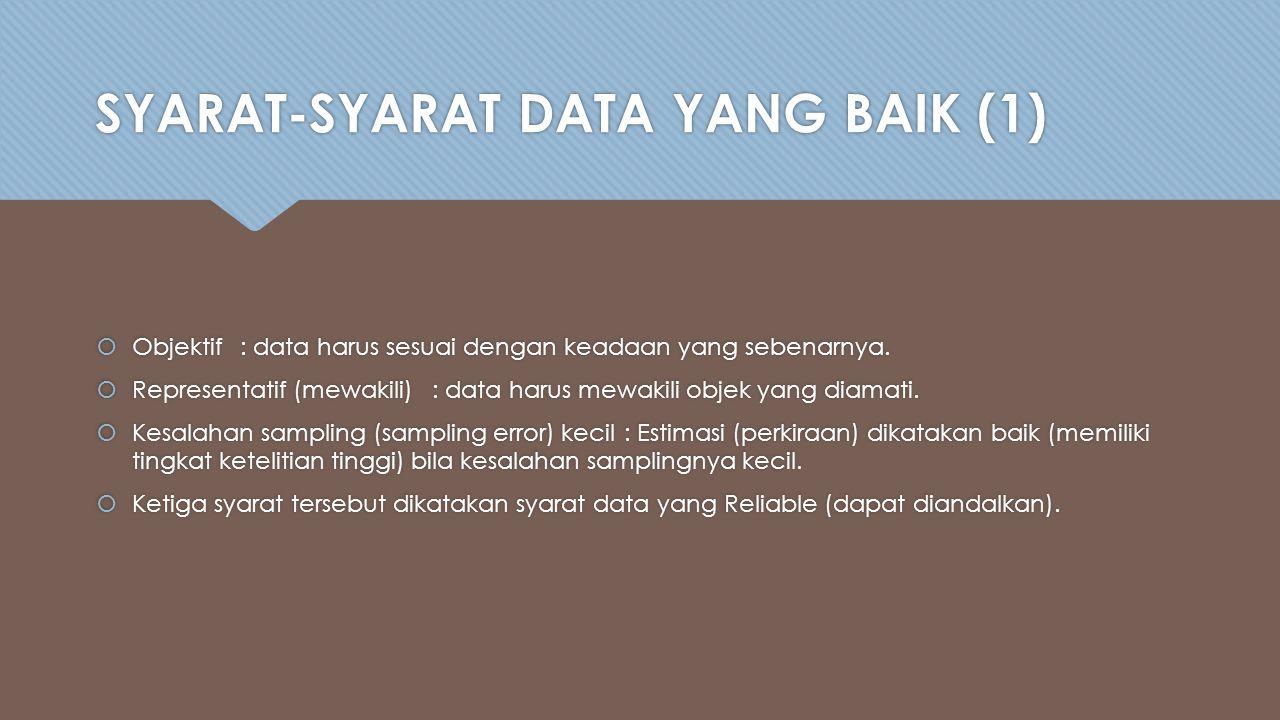 SYARAT-SYARAT DATA YANG BAIK (1)