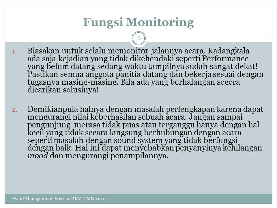 Fungsi Monitoring