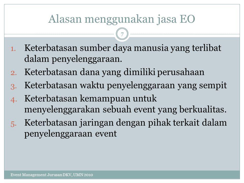 Alasan menggunakan jasa EO