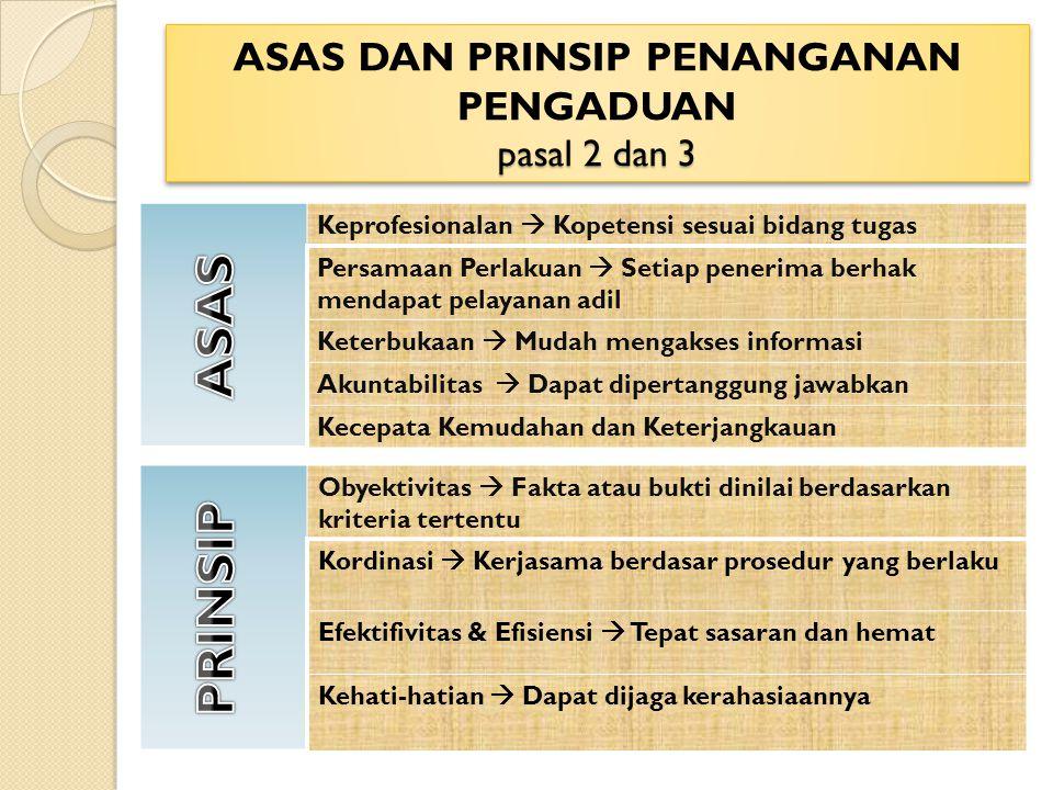 ASAS DAN PRINSIP PENANGANAN PENGADUAN pasal 2 dan 3