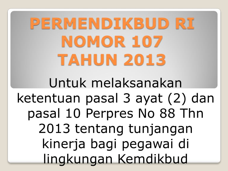 PERMENDIKBUD RI NOMOR 107 TAHUN 2013