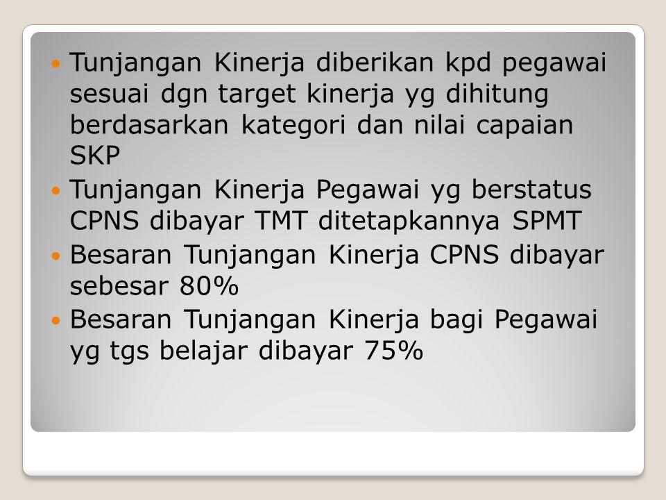 Tunjangan Kinerja diberikan kpd pegawai sesuai dgn target kinerja yg dihitung berdasarkan kategori dan nilai capaian SKP