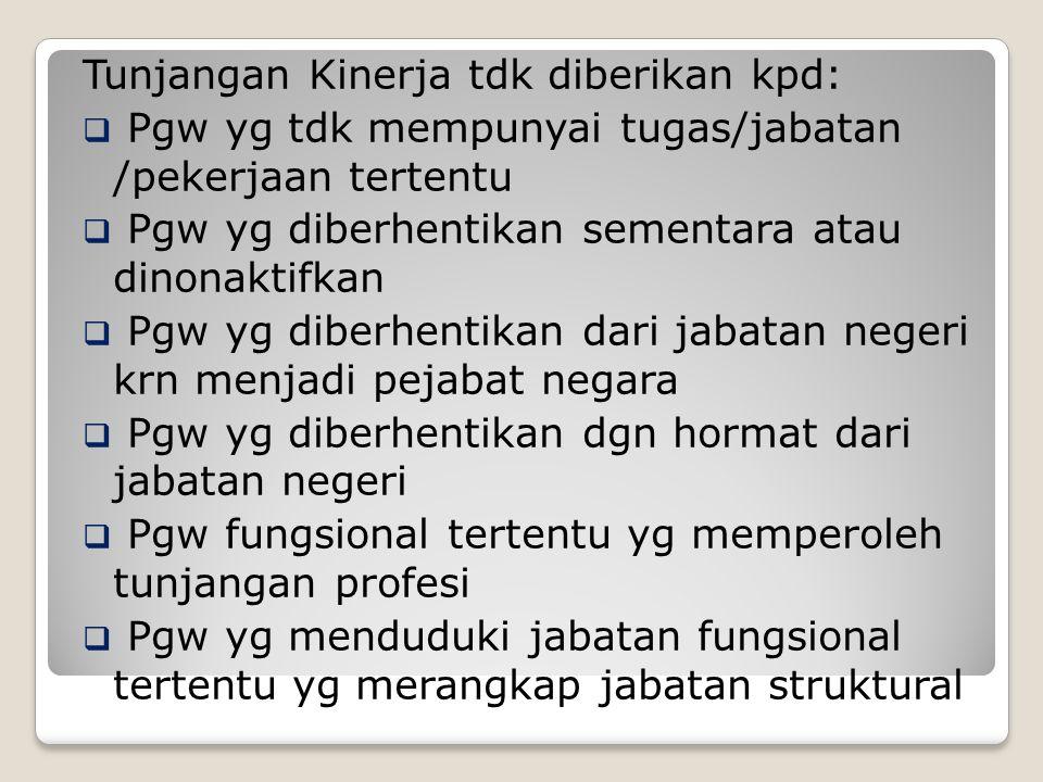 Tunjangan Kinerja tdk diberikan kpd: