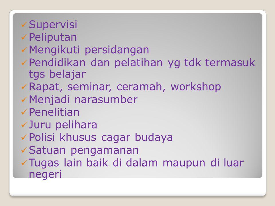 Supervisi Peliputan. Mengikuti persidangan. Pendidikan dan pelatihan yg tdk termasuk tgs belajar.