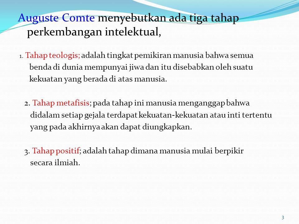 Auguste Comte menyebutkan ada tiga tahap perkembangan intelektual,