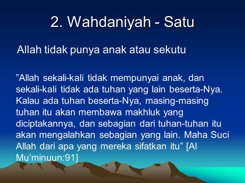 2. Wahdaniyah - Satu Allah tidak punya anak atau sekutu