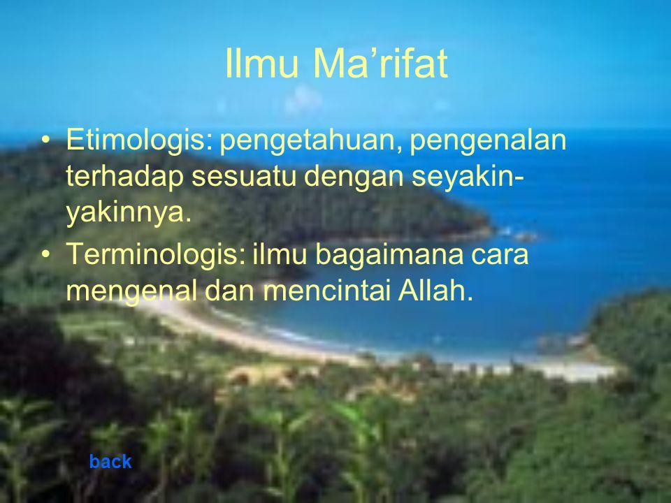 Ilmu Ma'rifat Etimologis: pengetahuan, pengenalan terhadap sesuatu dengan seyakin-yakinnya.