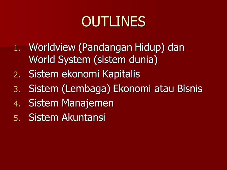 OUTLINES Worldview (Pandangan Hidup) dan World System (sistem dunia)
