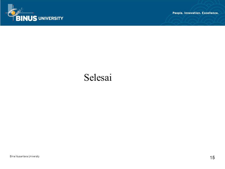 Selesai Bina Nusantara University