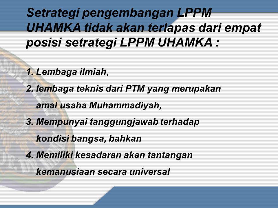 Setrategi pengembangan LPPM UHAMKA tidak akan terlapas dari empat posisi setrategi LPPM UHAMKA :