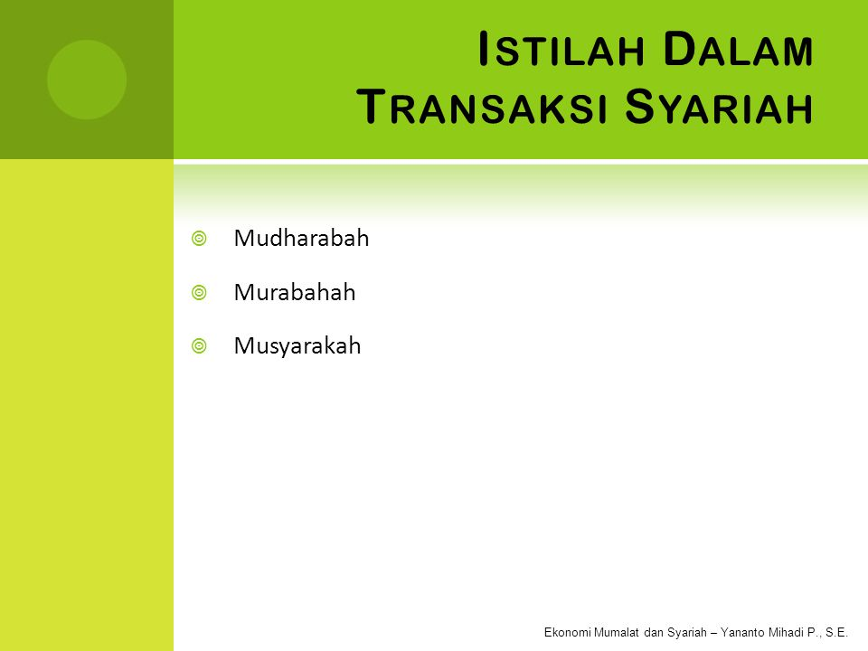 Istilah Dalam Transaksi Syariah