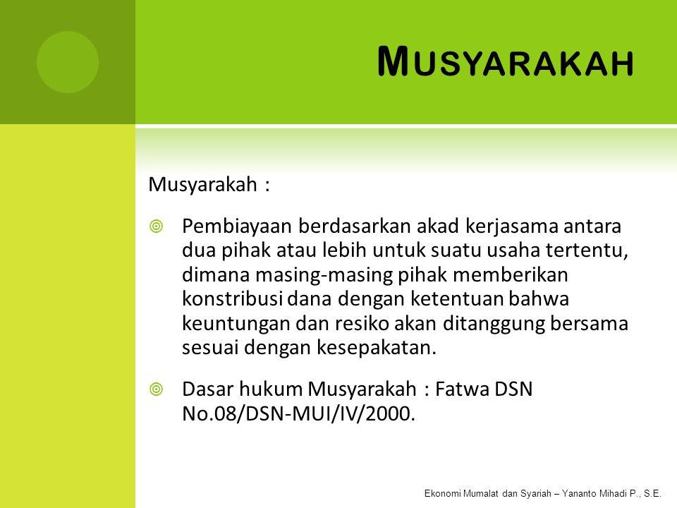 Musyarakah Musyarakah :