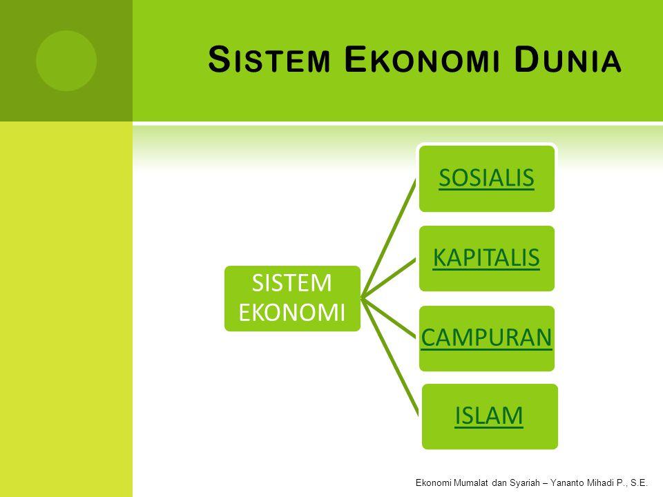 Sistem Ekonomi Dunia SISTEM EKONOMI SOSIALIS KAPITALIS CAMPURAN ISLAM