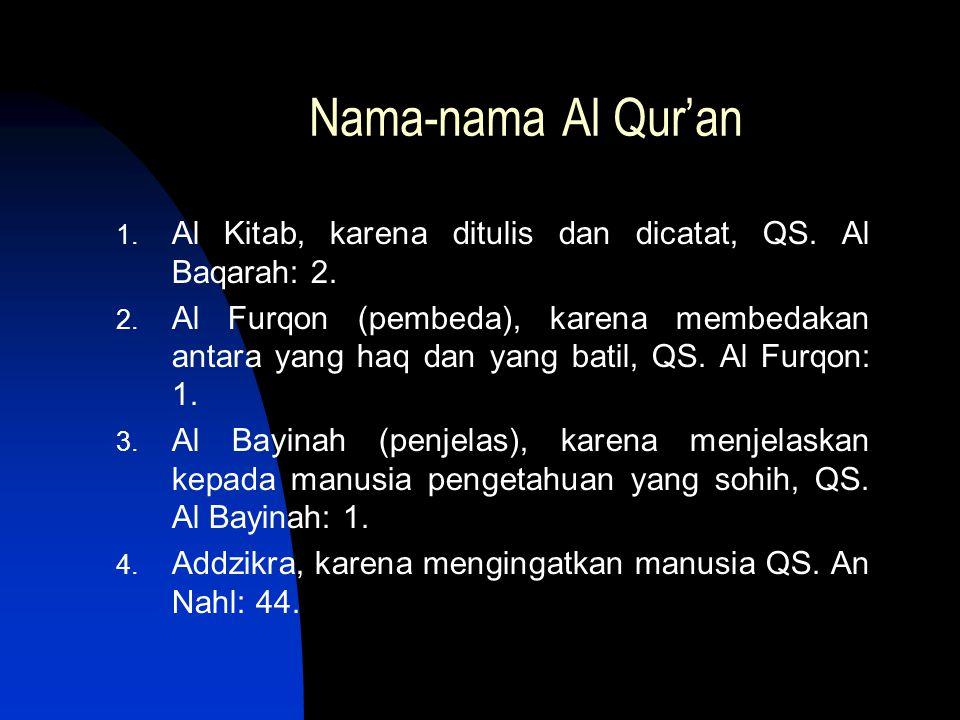 Nama-nama Al Qur'an Al Kitab, karena ditulis dan dicatat, QS. Al Baqarah: 2.