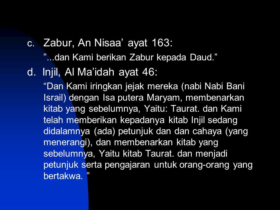 d. Injil, Al Ma'idah ayat 46: