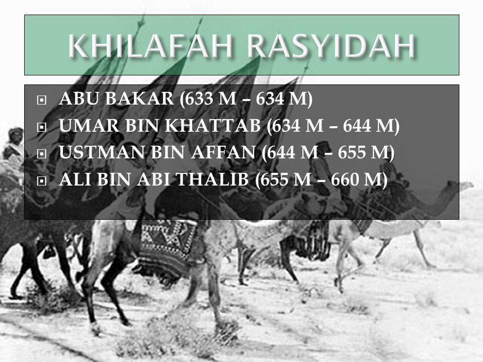 KHILAFAH RASYIDAH ABU BAKAR (633 M – 634 M)
