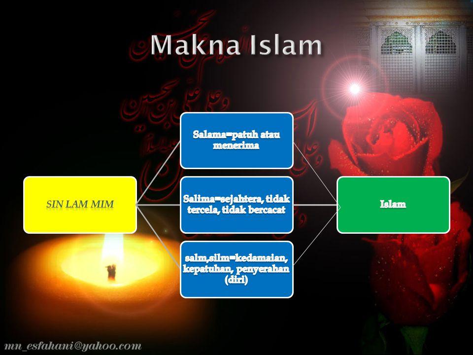 Makna Islam Sin lam mim Salama=patuh atau menerima