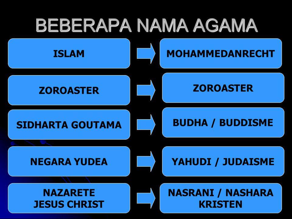 BEBERAPA NAMA AGAMA ISLAM MOHAMMEDANRECHT ZOROASTER ZOROASTER