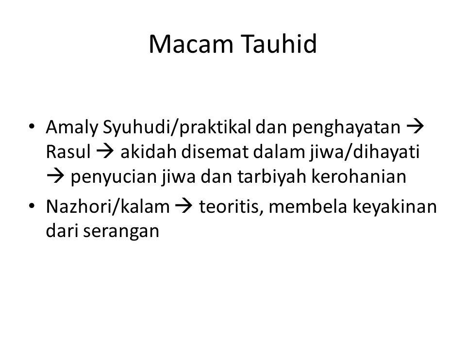 Macam Tauhid Amaly Syuhudi/praktikal dan penghayatan  Rasul  akidah disemat dalam jiwa/dihayati  penyucian jiwa dan tarbiyah kerohanian.
