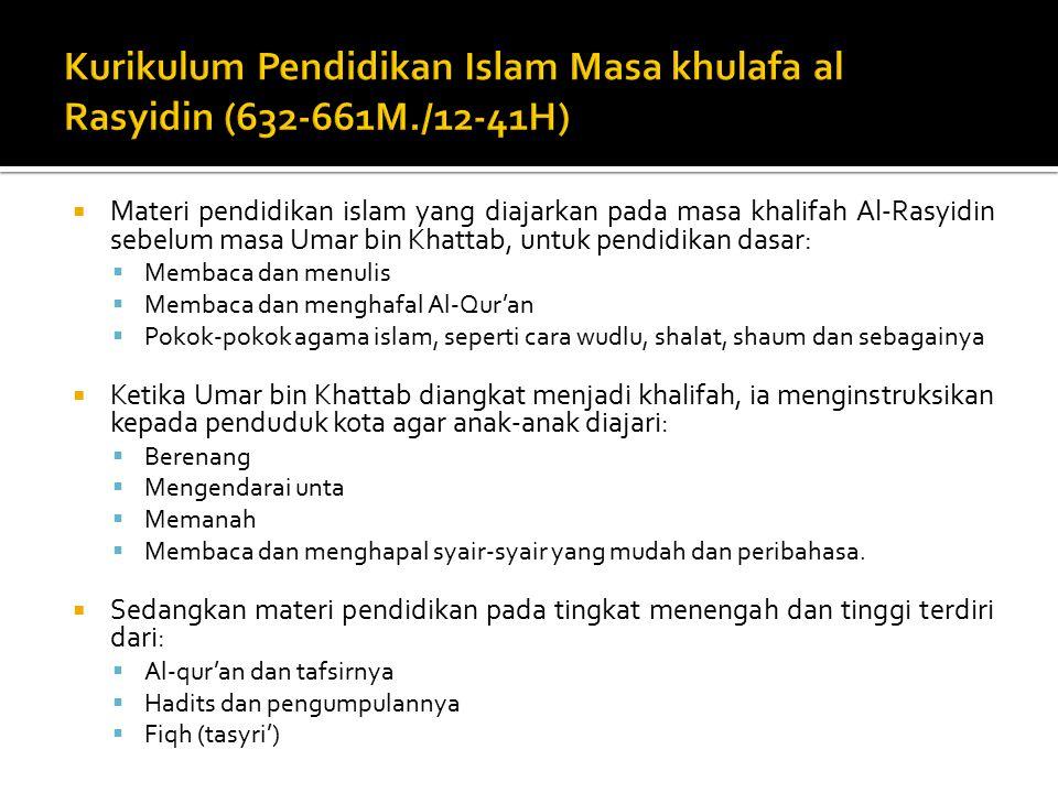 Kurikulum Pendidikan Islam Masa khulafa al Rasyidin (632-661M./12-41H)
