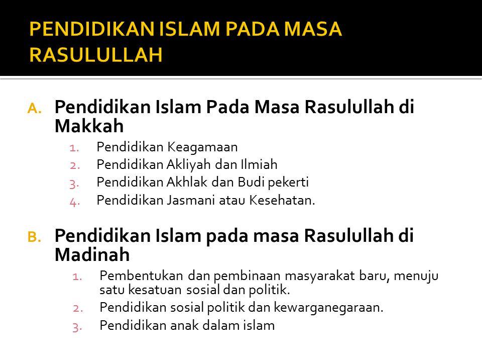 PENDIDIKAN ISLAM PADA MASA RASULULLAH
