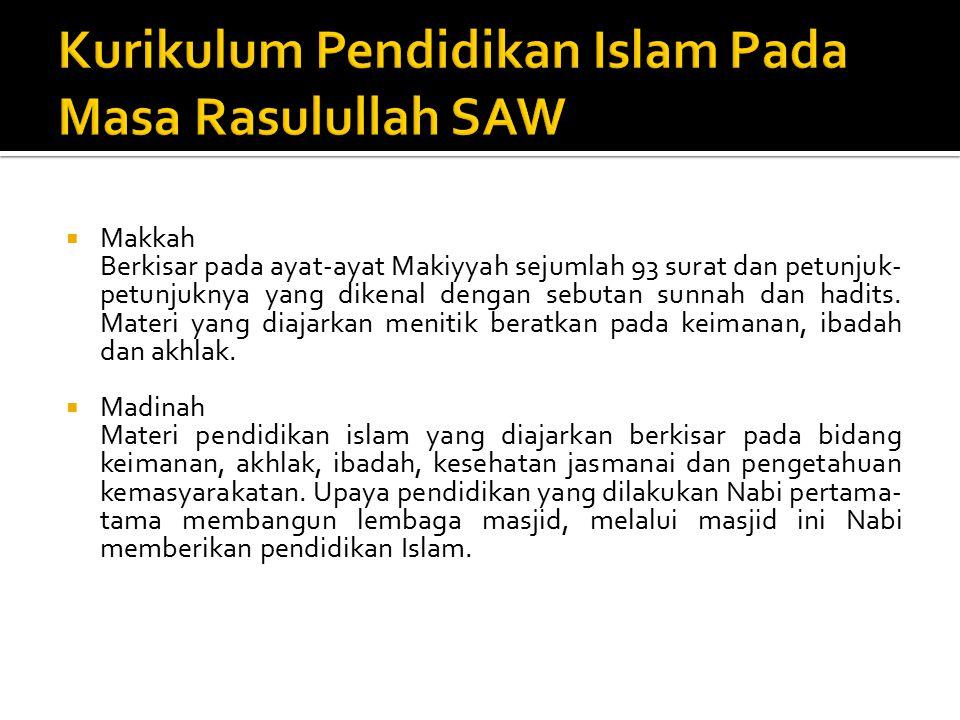 Kurikulum Pendidikan Islam Pada Masa Rasulullah SAW