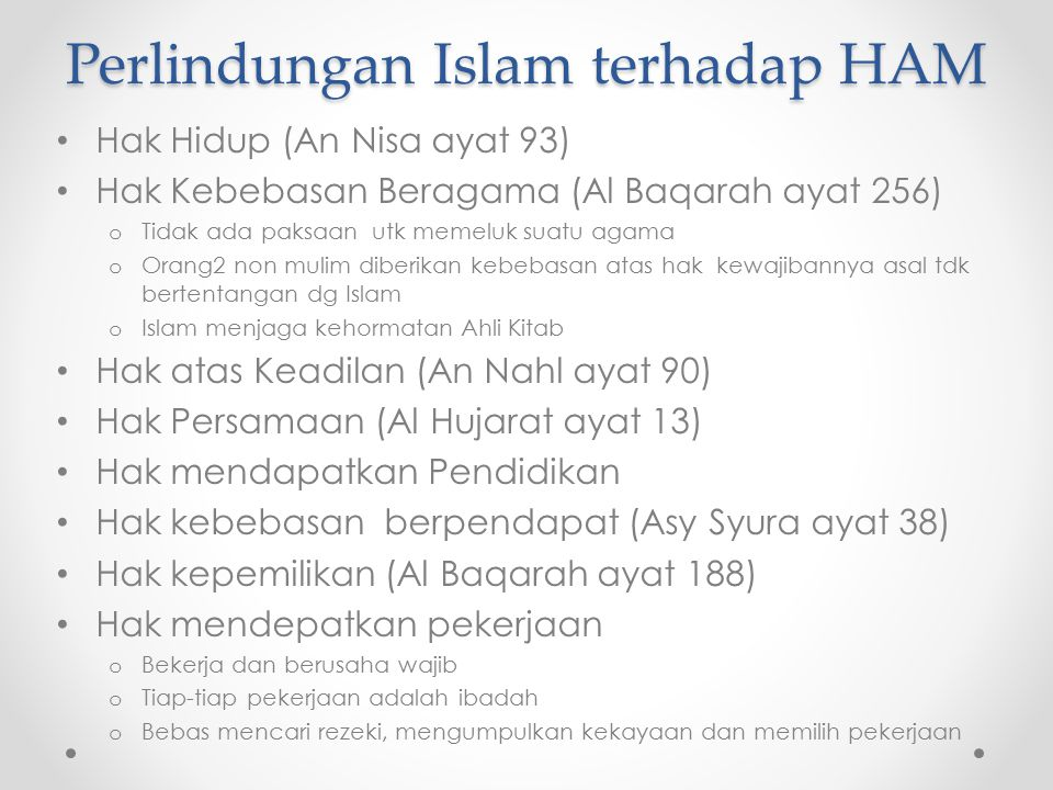 Perlindungan Islam terhadap HAM