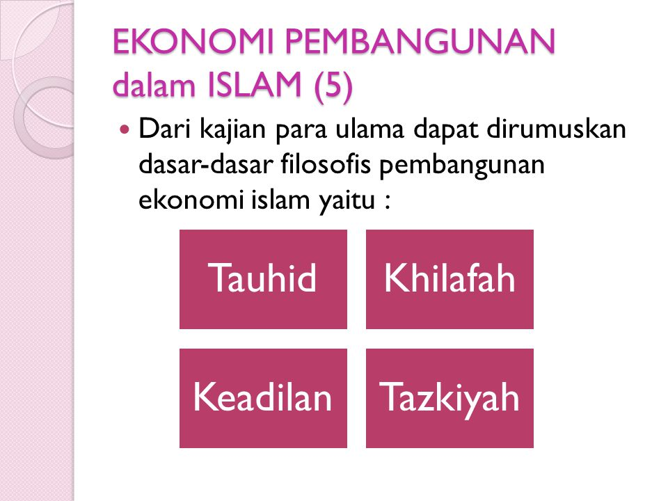 EKONOMI PEMBANGUNAN dalam ISLAM (5)