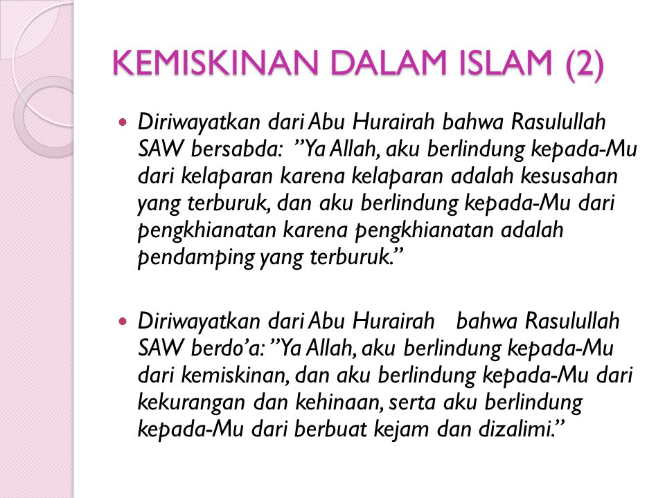 KEMISKINAN DALAM ISLAM (2)