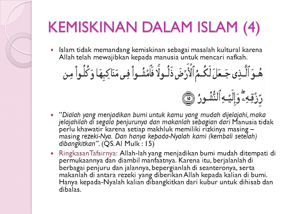 KEMISKINAN DALAM ISLAM (4)