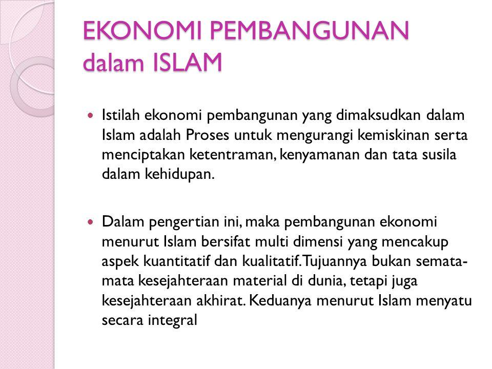 EKONOMI PEMBANGUNAN dalam ISLAM