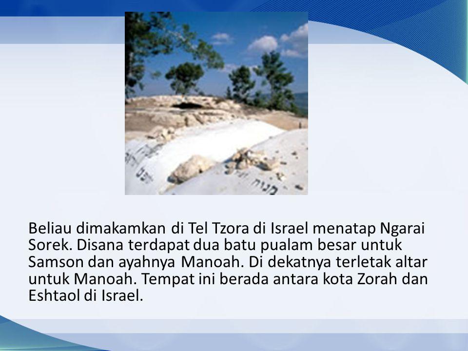 Beliau dimakamkan di Tel Tzora di Israel menatap Ngarai Sorek