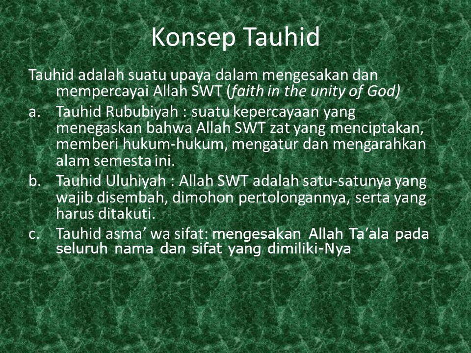 Konsep Tauhid Tauhid adalah suatu upaya dalam mengesakan dan mempercayai Allah SWT (faith in the unity of God)