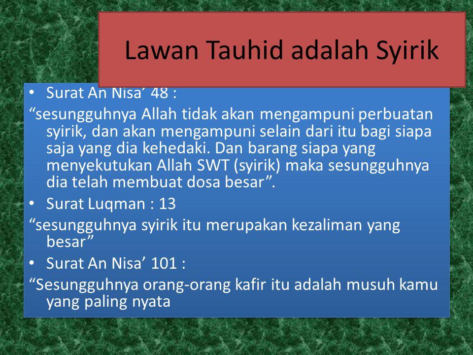 Lawan Tauhid adalah Syirik
