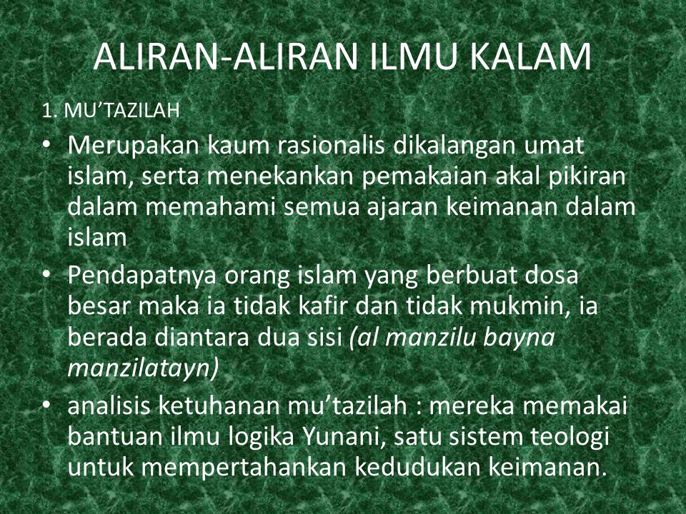 ALIRAN-ALIRAN ILMU KALAM