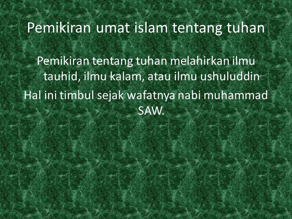 Pemikiran umat islam tentang tuhan