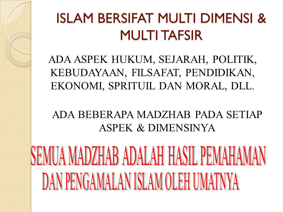 ISLAM BERSIFAT MULTI DIMENSI & MULTI TAFSIR